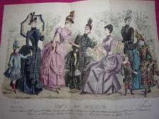 Double planche Journal des Demoiselles mai 1887 Mode de Paris 35x27 cm