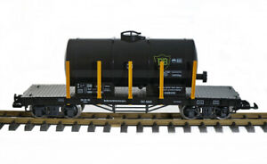 Train Bausatz Kesselwagen, schwarz, Güterwagen, Spur G, Edelstahlradsätze