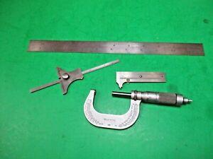 "Brown & Sharpe Machinist Lot- 388 Pocket Caliper, Depth Gauge, 48 Mic & 12"" Rule"