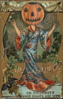Halloween Series 552 Woman in Kimono JOL on Head c1910 Postcard