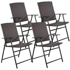 Set of 4 Garden Patio Furniture Folding Brown Rattan Wicker Dining Chairs Set