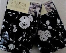 2 New Ralph Lauren PORT PALACE BLACK & White/Cream FLORAL Standard SHAMS