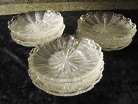 RARE SET 15 LATE GEORGIAN EARLY VICTORIAN MOLDED CUT GLASS PLATES 19TH C GLASS