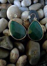 Anthropologie Tristan Teardrop Earrings Emerald Green Gold-tone  ELEGANT