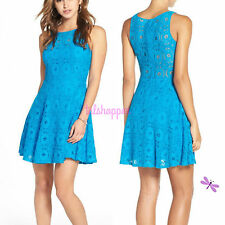 NEW 12 BB Dakota Renley Fit & Flare All Over LACE Sky Blue Day to Night Dress