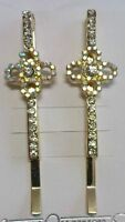 card of 2 gold crystal hair grips/clips/ slides bling party