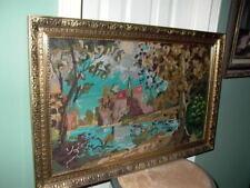 Antique Framed Home Landscape Scene Needlepoint