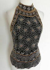 Mark & John by Gopal Beaded and Sequined Top Size S Black Rayon Sleeveless