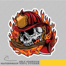 Fire Fighter crâne feu et Hache soutien-gorge Vinyle Sticker Autocollant Fenêtre Voiture Van Vélo 2393