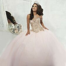 Gorgeous Pink Quinceanera Dresses Gold Applique Prom Party Wedding Dress Custom