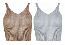 New Womens Ladies Ribbed Knit Metallic Lurex Shiny V Neck Vest Crop Top UK 8-14