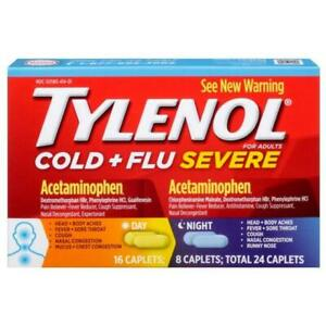 TYLENOL Cold and Flu Severe Day/Night Caplets - 24 Count