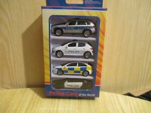 WELLY DIE CAST 1/64 POLICE CARS OF THE WORLD SET  NEW BOXED  Focus Peugeot BMW