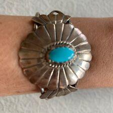 Vintage Navajo Cuff Bracelet Signed H Charlie Turquoise Sterling Silver