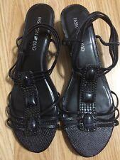 Fashion Bug * Black  Open Toe Strappy Slingback Embellished Sandal - Size 7.5M -