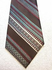Vintage Gino Pompeii Mens Tie 4.5 X 58 Brown With Green, Red And Gray
