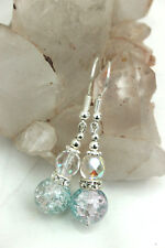 Pink Turquoise CRACKLE GLASS & Aurora Bead Rhinestone DROP EARRINGS 925 Silver