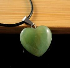 Green Aventurine Natural Gemstone Heart Pendant on a Black Cord Necklace #784
