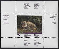 Canada: Quebec 1992 Lynx Wildlife Habitat Stamp - #QW5 MNH - CV $20.00 (ow-45)