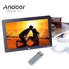 "12"" HD LCD Digital Photo Picture Frame Clock MP4 Player + Remote Control Black"