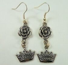 Alice in Wonderland Earrings, Handmade, Tibetan Silver, Red Queen Rose & Crown