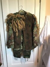 Woodland Camo Ghillie Suitwith Head Covering Suit X-Large Hat 7 3/4 Preowned