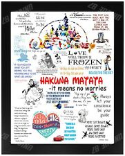 Famous Disney Quotes Disney Sayings Birthday Xmas Gift Day For HIM HER Gift A4
