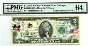 $2 DOLLARS 1976 FIRST DAY STAMP CANCEL ILLINOIS LUCKY MONEY VALUE $3000