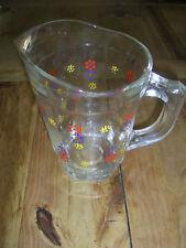 Glaskrug Saftkrug handbemalt Blumen  40er 50er  ca. 1 Liter Höhe 19 cm