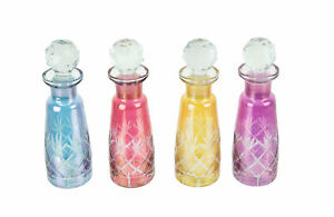 Set of 4 Colored Cut Glass Decorative Perfume Bottles With Stoppers