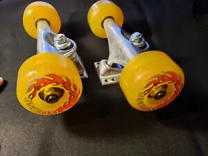 "New Old Stock, Yellow ""Inferno"" Skateboard Trucks With Wheels"