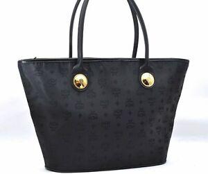 Authentic MCM Nylon Vintage Tote Bag Black A2011