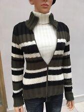 Italian wool cardigan 8UK striped black, dark green & cream ,zip,polo neck good