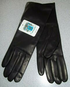 NWT Portolano Black 100% Leather Mid Length Dress Gloves Sz 7.5 Cashmere Lined