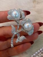 Pearl Brooch Pin 925 Sterling Silver Studded Flower Design Handmade Fine Jewelry