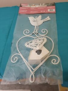 Shabby Chic Metal White Hearts/bird/house Chain Hanging mobile new wrapped.