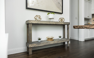 Woven Paths Large Rustic Luxe Wooden Sofa Table, Gray
