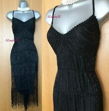 Karen Millen Black 20'S FLAPPER CHARLESTON CROCHET Beaded DRESS KM-2 UK-10
