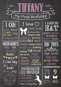 Birthday Chalkboard Poster Custom Personalised Party 1st Birthday First GIRL