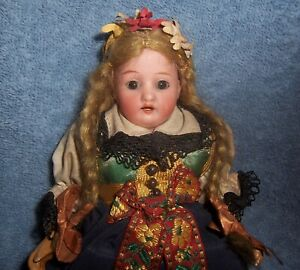 """Antique 8.5"""" German Bisque Head~Dollhouse Doll~Original~Traditional Clothing"""