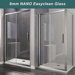 Sliding Shower Door 6/8mm Glass Cubicle Screen Shower Enclosure Side Panel Tray