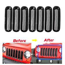For 2007-2017 Jeep Wrangler JK Matte Black Front Insert Mesh Grille Trim Cover