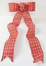 Christmas Tree Bow Gift Basket Bow Red Country Tartan Red RibbonDecoration Mono