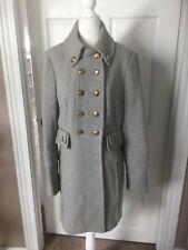 NWOT Bebe Herringbone Grey Wool Military Style Coat Size L