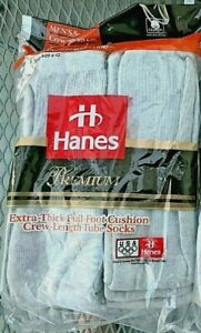 6 pair Hanes premium cotton tube socks grey USA triple layer vintage gray retro
