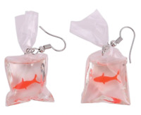 goldfish hook drop earrings resin statement gift UK cute prize fairground bag