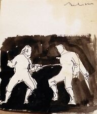 FENCING Swardmanship original drawing ART funny humorous comic sport BELAUBRE