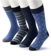 Men's 4-Pack Croft & Barrow The Opticool Dress Socks - Navy/Blue Pattern Colors