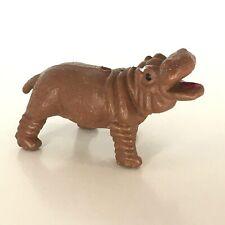 "Toy Hippopotamus Figure Miniature Hippo Brown 2.25"" Safari Animal Wildlife"