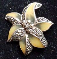 Vintage Sterling Marcasite Enamel Necklace Plique A Jour Enamel Stylized Flower
